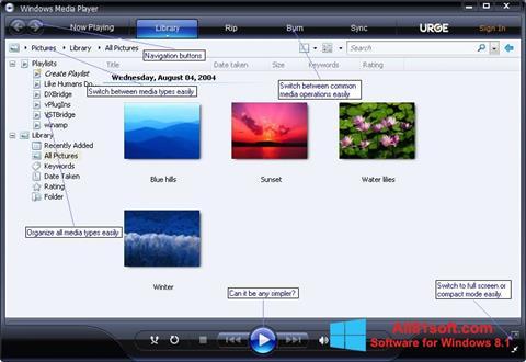 Ảnh chụp màn hình Media Player cho Windows 8.1