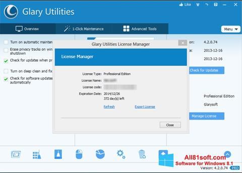Ảnh chụp màn hình Glary Utilities cho Windows 8.1