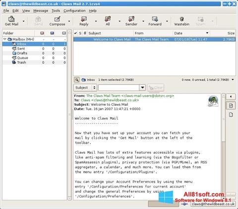 Ảnh chụp màn hình Claws Mail cho Windows 8.1