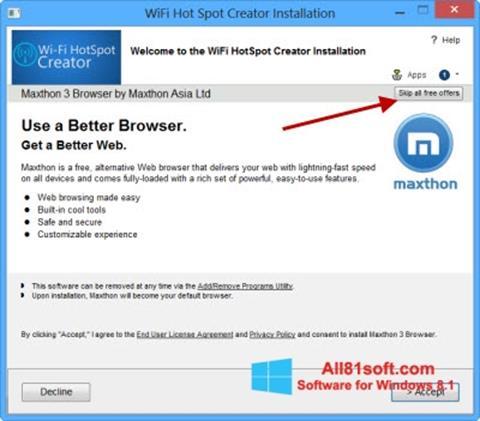 Ảnh chụp màn hình Wi-Fi HotSpot Creator cho Windows 8.1