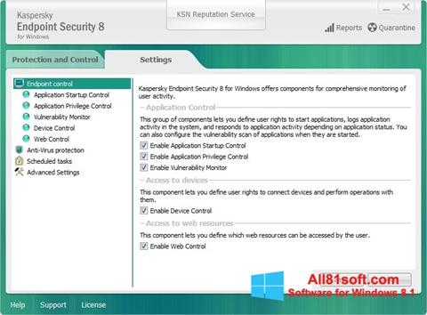 Ảnh chụp màn hình Kaspersky Endpoint Security cho Windows 8.1