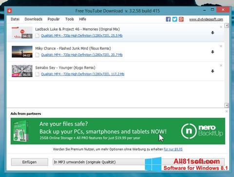 Ảnh chụp màn hình Free YouTube Download cho Windows 8.1