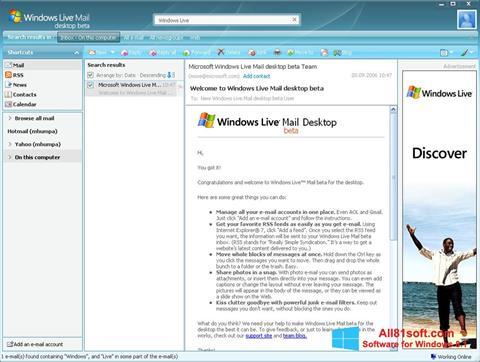 Ảnh chụp màn hình Windows Live Mail cho Windows 8.1