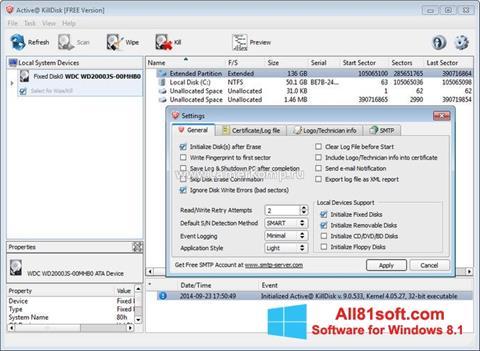 Ảnh chụp màn hình Active KillDisk cho Windows 8.1