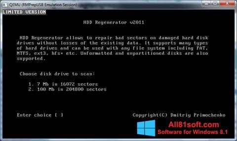 Ảnh chụp màn hình HDD Regenerator cho Windows 8.1