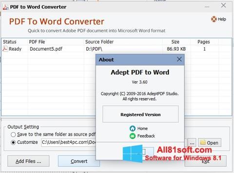 Ảnh chụp màn hình PDF to Word Converter cho Windows 8.1