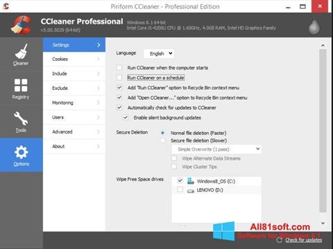 Ảnh chụp màn hình CCleaner cho Windows 8.1