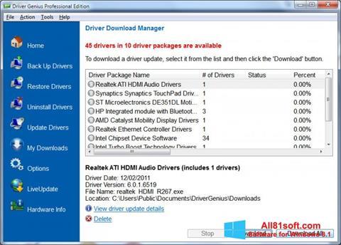Ảnh chụp màn hình Driver Genius Professional cho Windows 8.1