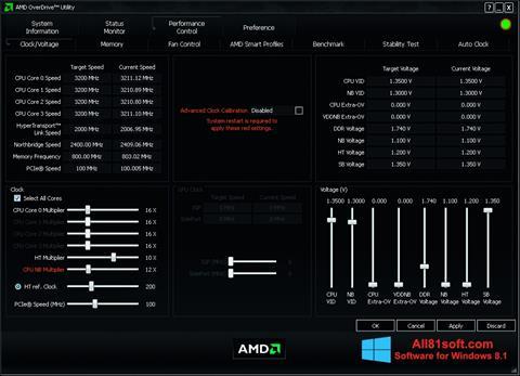 Ảnh chụp màn hình AMD Overdrive cho Windows 8.1